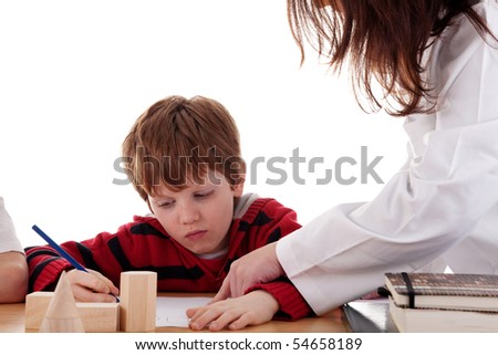student with the teacher, isolated on white background. Studio shot. - stock photo