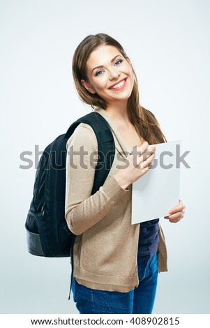 Student woman isolated portrait. Smiling girl hold blank board or book. - stock photo