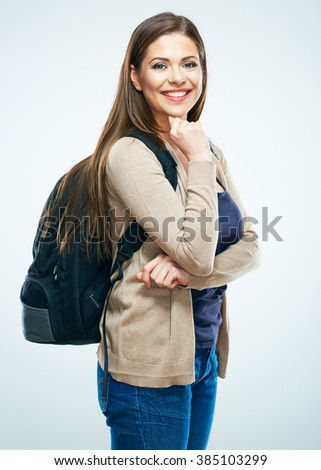 Student woman isolated portrait. Smiling girl on white background.Long hair. - stock photo