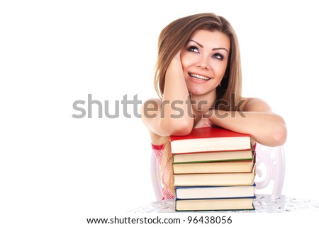 student woman with a stack of books, isolated on white