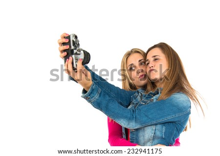 Student women making a selfie - stock photo