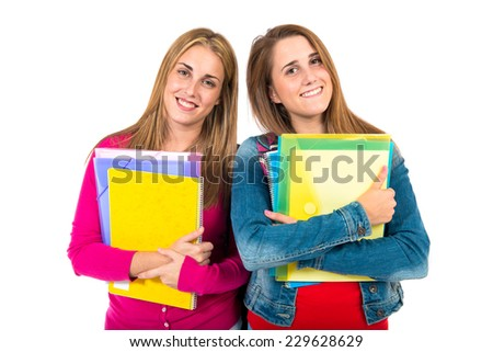 Student women over isolated white background - stock photo