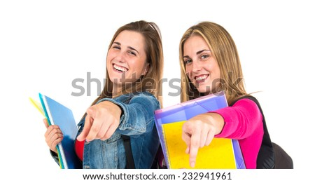Student women pointing front over white background