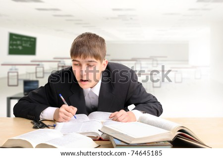 student working hard in the classroom
