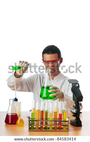 Student working in the chemical lab - stock photo