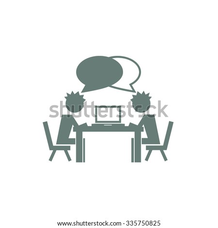 Student working on a computer. Worker working on a computer. Concept flat style design illustration icon. - stock photo