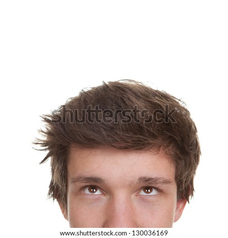 student, young man or teen face looking up - stock photo