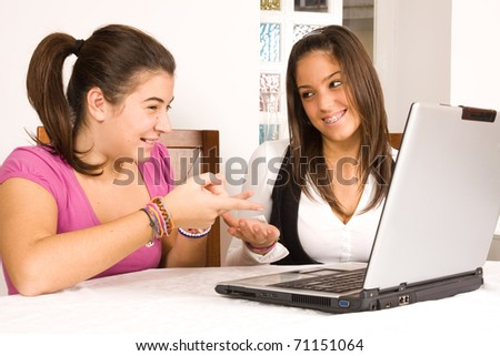students and computer - stock photo