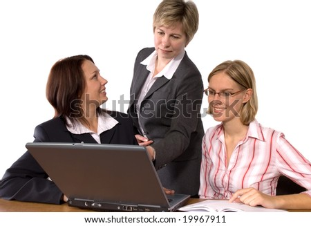 students and professor in computer classroom - stock photo