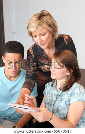 Students and teacher - stock photo