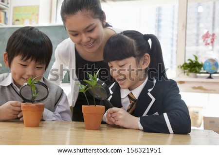 Students and teacher examining potted plants  - stock photo