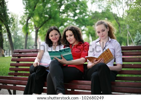 Students are trained in the park for exams - stock photo