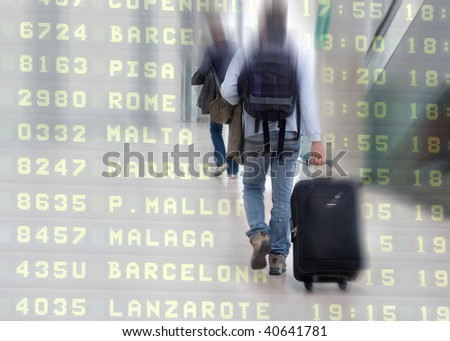 Students at the Airport - stock photo