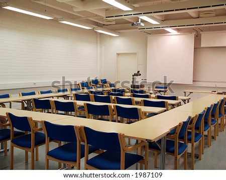 Students auditorium two ready for lecture, view - stock photo