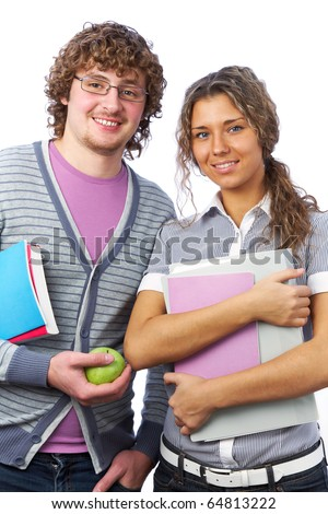 students: boy and  girl with notebooks and books smiling on white background