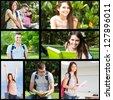 Students collage - stock photo