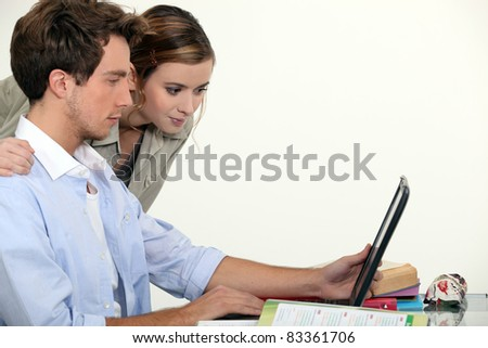 students doing computer - stock photo