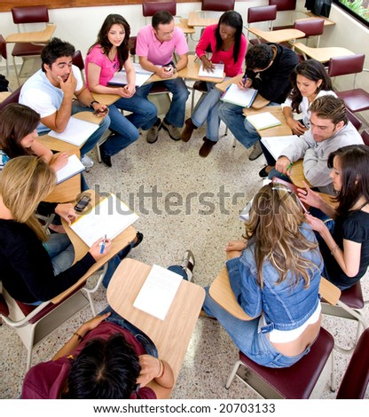 students during a class in a classroom at university