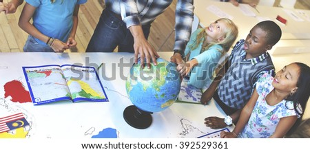 Students Geography Learning Classroom Concept - stock photo