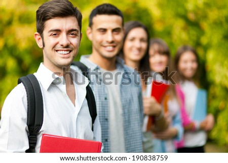 Students group at the park - stock photo