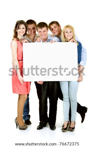 students group happy holding blank white banner isolated on white background - stock photo