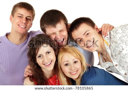 students happy group isolated on white background - stock photo