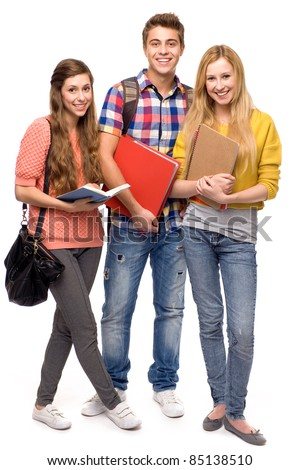 Students holding books - stock photo