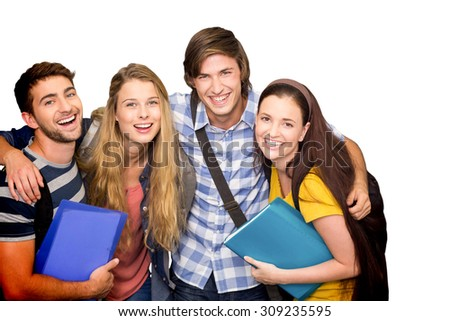 Students holding folders at college corridor against white background with vignette - stock photo