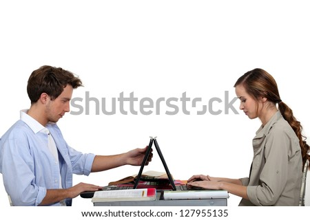 Students in computer class - stock photo