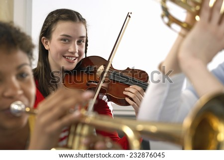 Students in Music Class - stock photo