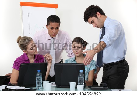 Students in sales training - stock photo