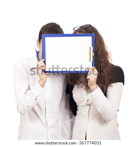 students in white shirts holding white sign to write it on your text isolated on white background - stock photo