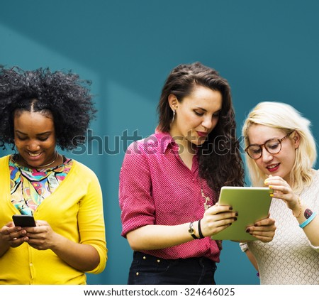 Students Learning Education Cheerful Social Media Girls - stock photo