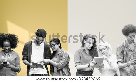 Students Learning Education Social Media Technology - stock photo