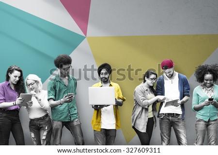 Students Learning Education Social Media Technology - stock photo
