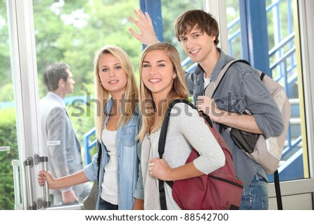 Students leaving - stock photo