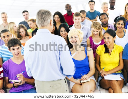 Students Lecture Room Classroom Casual Education Concept - stock photo
