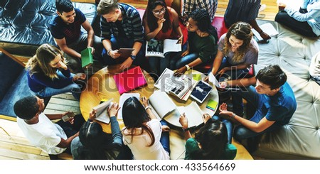 Students Library Campus Education Knowledge Concept - stock photo