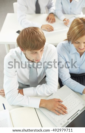 Students listening to lecture in class