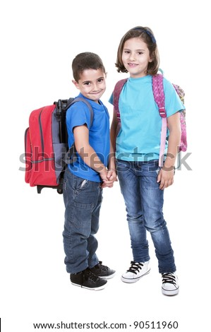 Students of different ages with a backpack isolated on white - stock photo