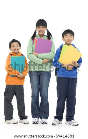 Students of different ages with folder isolated on white - stock photo