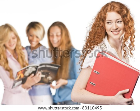 Students on isolated background - stock photo
