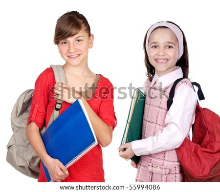 Students sisters with backpack isolated on white background - stock photo