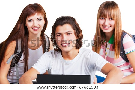 students smiling with backpack and laptop on white background