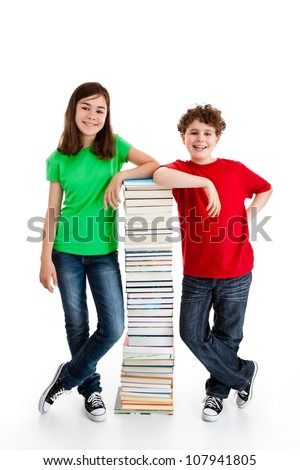 Students standing close to pile of books on white - stock photo