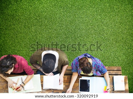 Students Studying Learning Education Community - stock photo
