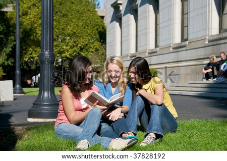Students studying outdoors - stock photo