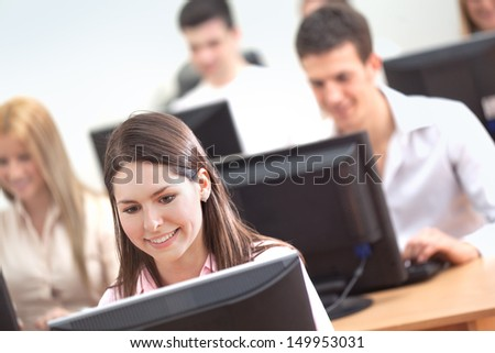 Students Using Computers - stock photo