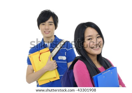 students with books and bags over a white