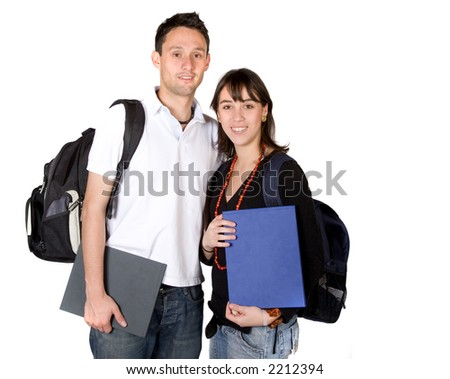 students with books and bags over a white background - stock photo
